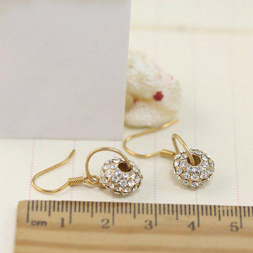 Pair of Stylish Gold Plated Rhinestone Wheel Drop Earrings For Women - GOLDEN