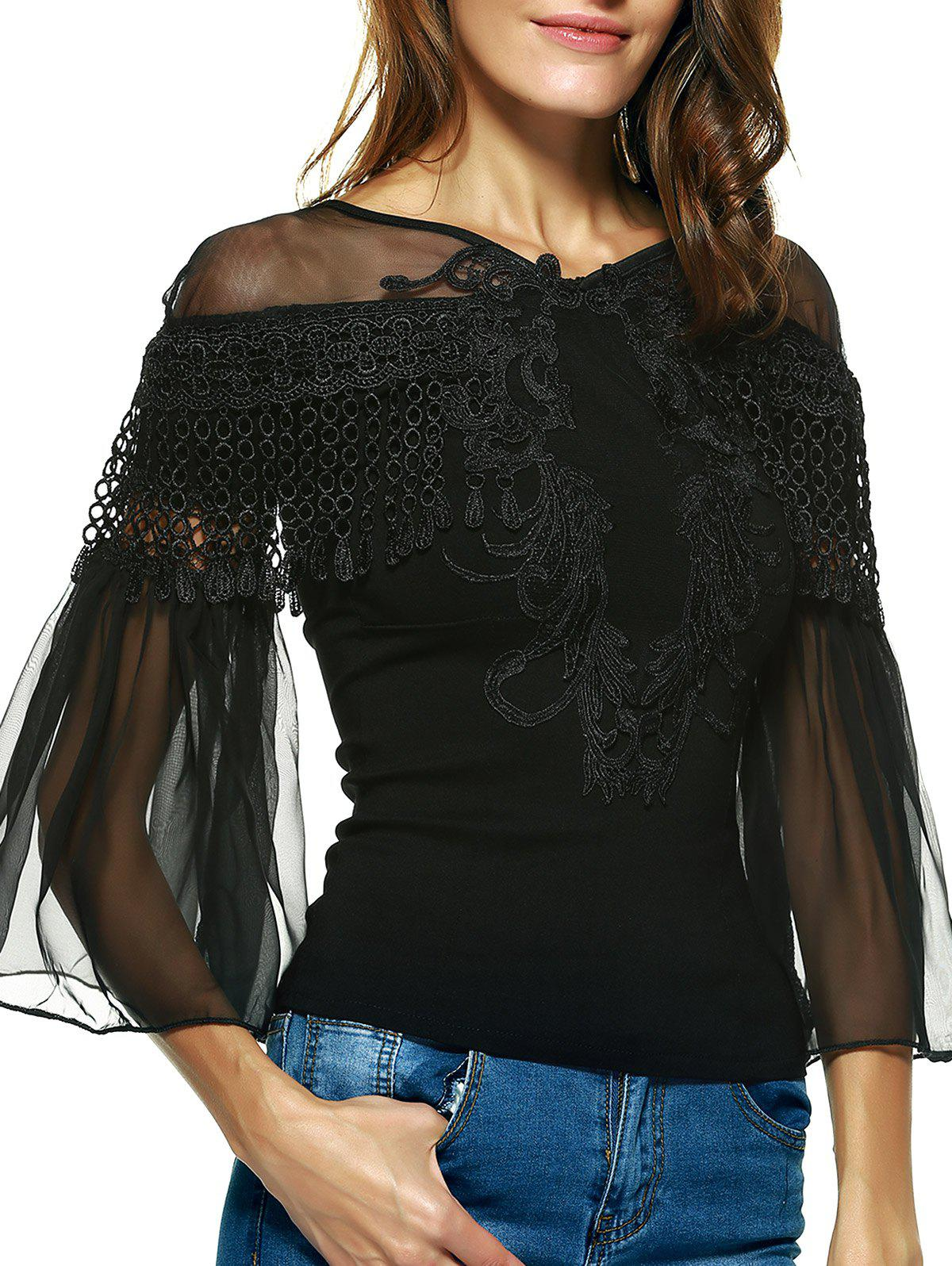Graceful Women's Bell Sleeves Embroidered Mesh Spliced Blouse - BLACK ONE SIZE