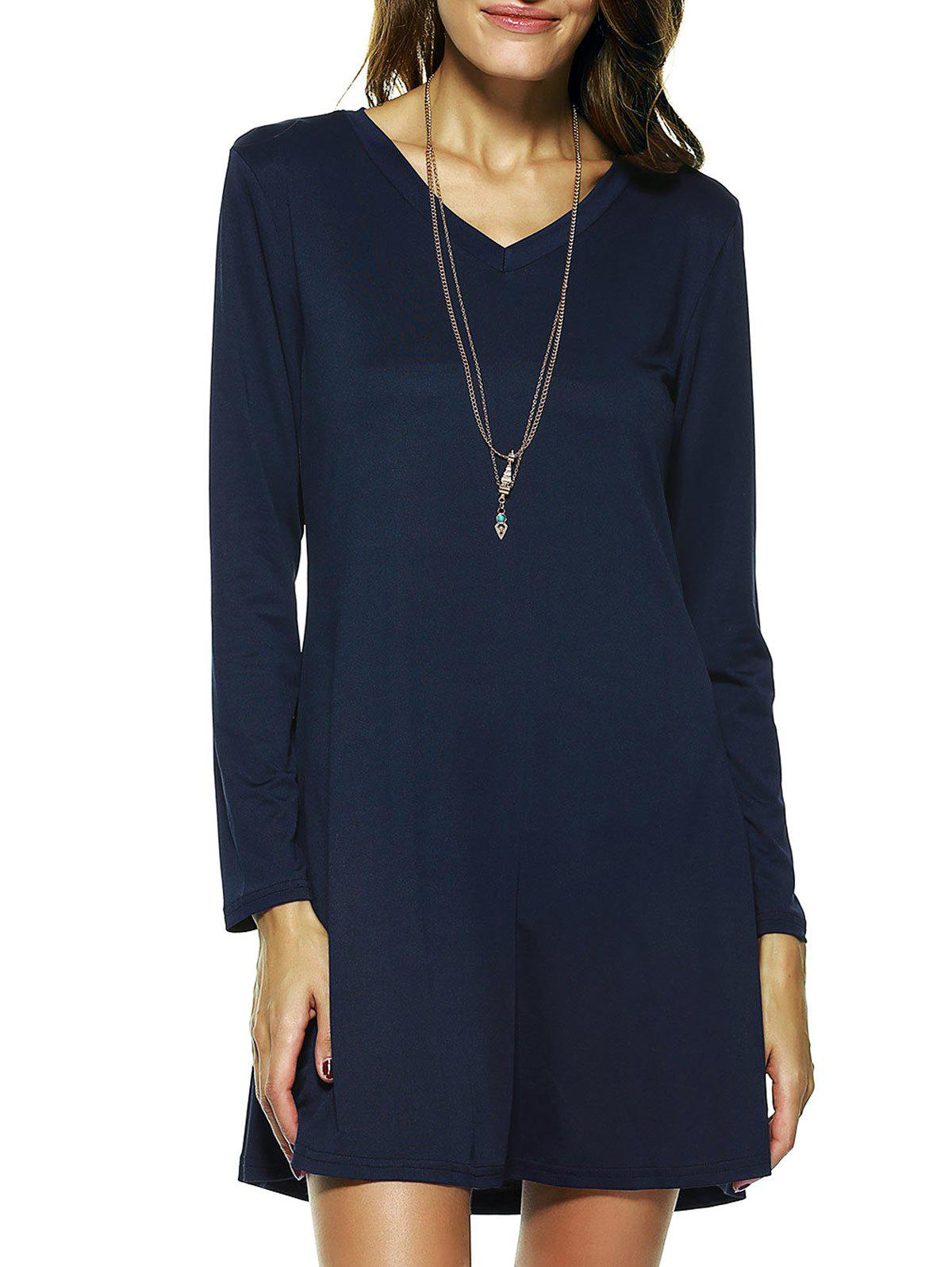 Solid Color Long Sleeve Flare Dress - PURPLISH BLUE XL