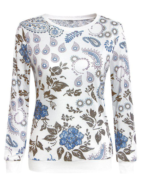 Chic Paisley Print Round Neck Long Sleeve Women's Sweatshirt - WHITE XL