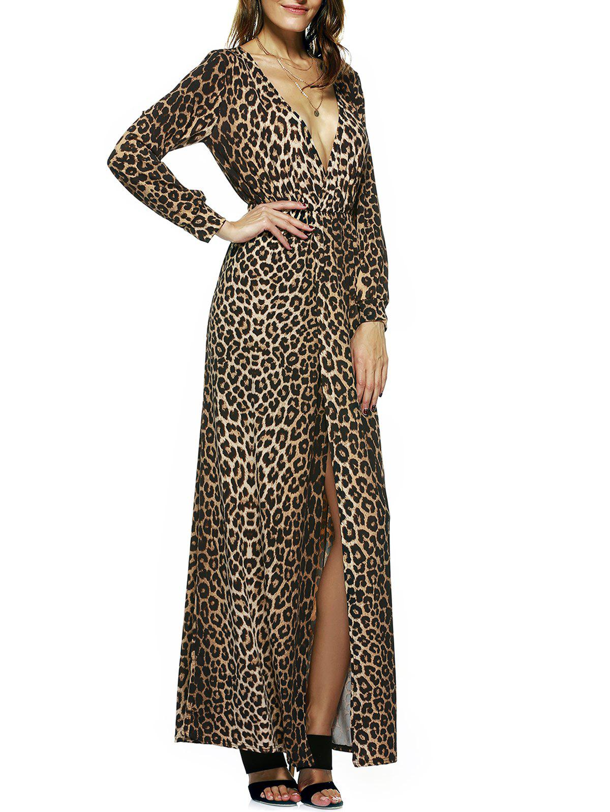 Leopard Print High Slit Maxi Dress - LEOPARD XL