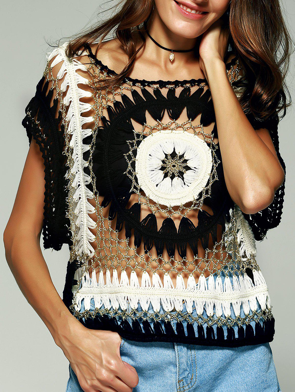 Chic Women's Crochet Batwing Sleeves Blouse - WHITE/BLACK ONE SIZE