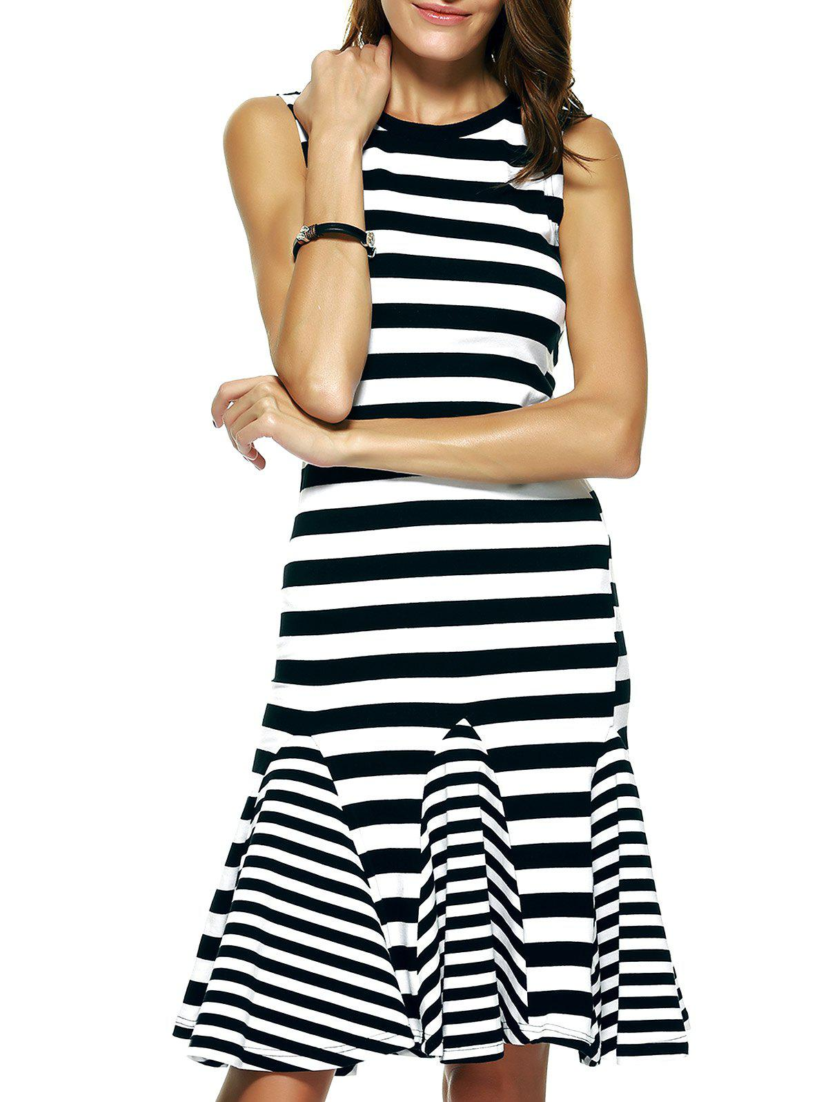Graceful Women's Striped Fishtail Slimming Dress