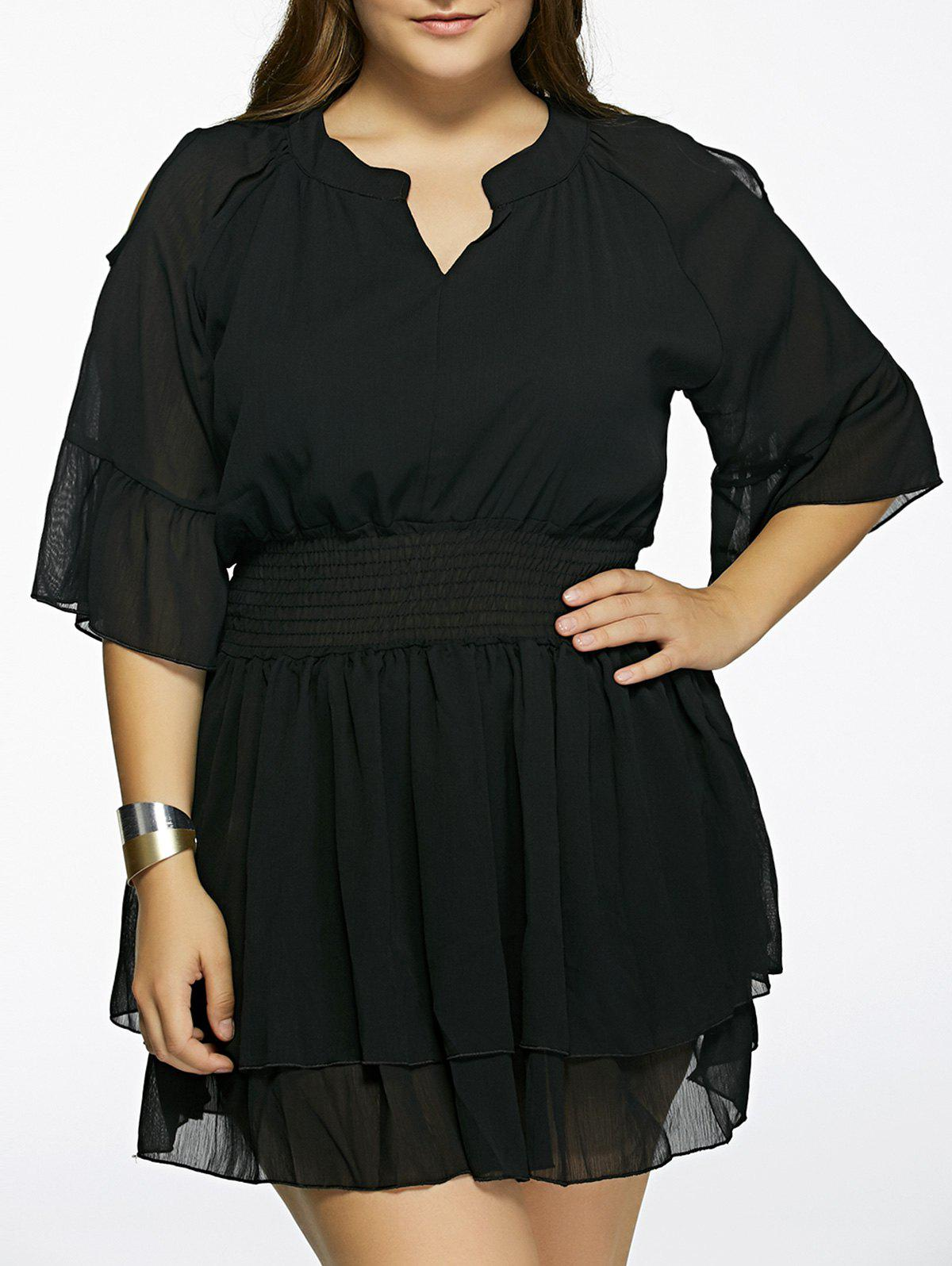 Plus Size Cold Shoulder Layered Dress