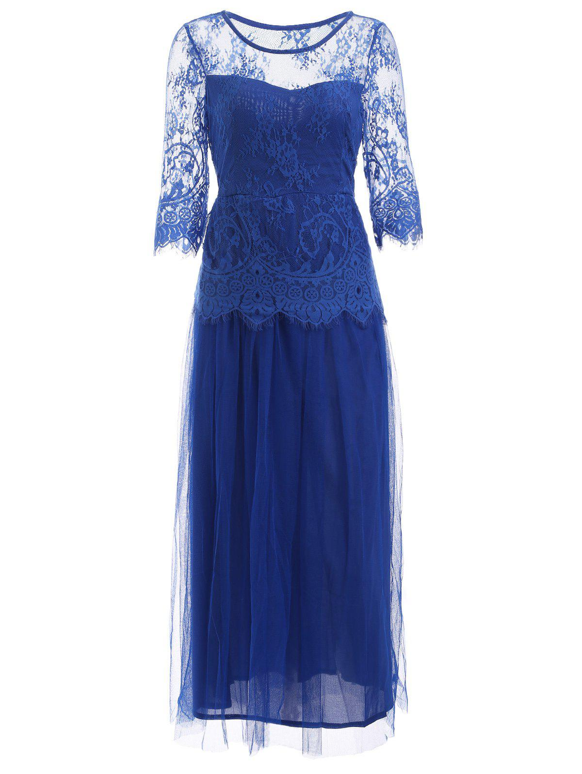 Sweet Women's Embroidered Lace Dress - BLUE L