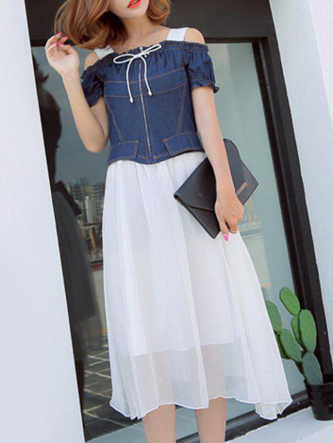Trendy Hollow Out Denim Splicing Midi Dress - WHITE M