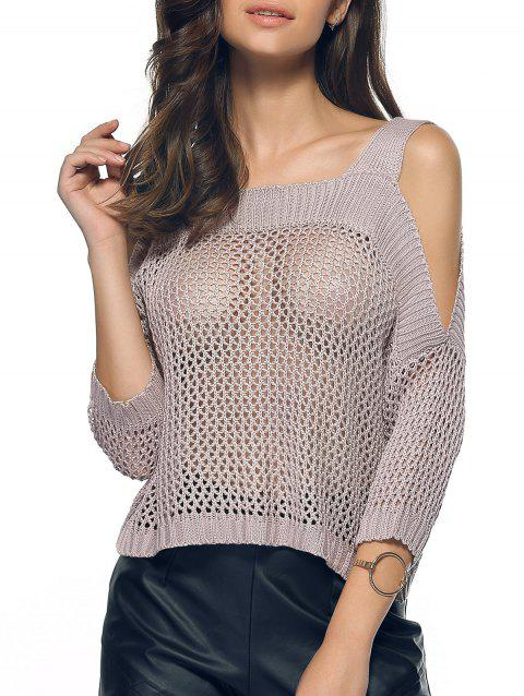 Cold Shoulder Openwork Pure Color Sweater - GRAY L