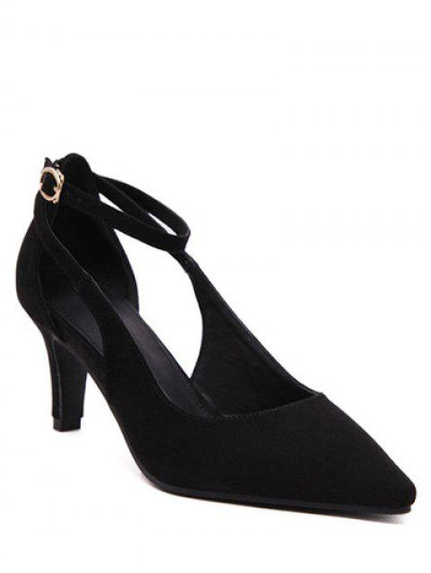 Chic Ankle Strap and Hollow Out Design Women's Pumps - BLACK 37
