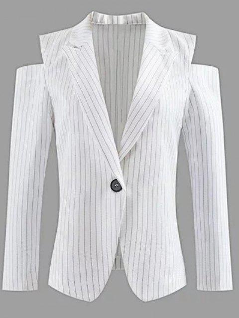 Lapel One-Button Striped Cut Out Blazer épaule froid - Blanc S