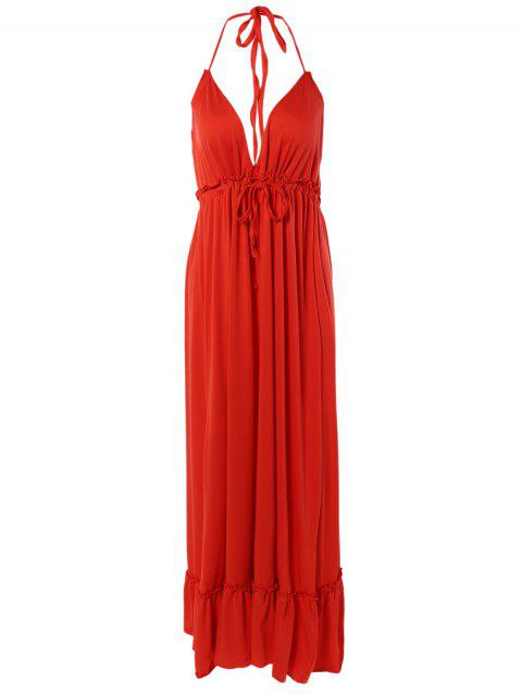 Ruffled Open Back Formal Prom Halter Neck Long Dress - RED XL