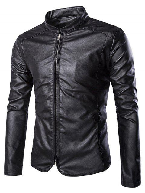 Brief Zip Up Stand Collar Long Sleeve Men's Faux Leather Jacket - BLACK XL