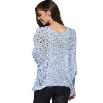 Asymmetric Batwing Sleeve Openwork Sweater - ONE SIZE ONE SIZE