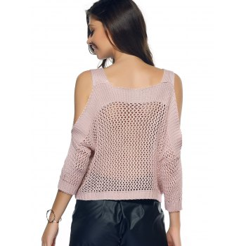 Cold Shoulder Openwork Pure Color Sweater - L L