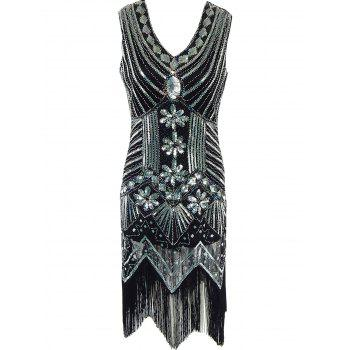 Attractive Sequined Wavy Cut Dress For Women