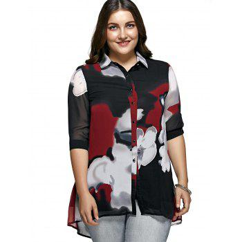 Oversized Hit Color Blouse For Women - RED XL