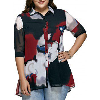 Oversized Hit Color Blouse For Women - RED RED