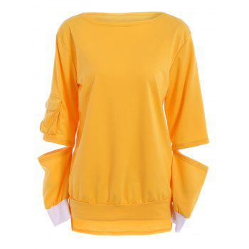 Charming Hollow Out Long Sleeve Pullover Sweatshirt For Women