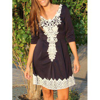 1/2 Sleeve Lace Spliced Round Neck A-Line Dress For Women