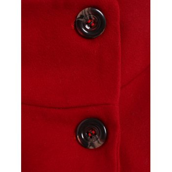 Stylish Women's Turn-Down Collar Long Sleeve Red Worsted Coat - RED S