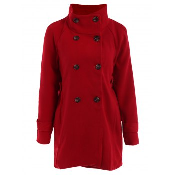 Stylish Women's Turn-Down Collar Long Sleeve Red Worsted Coat