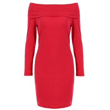 Sexy Long Sleeve Off-The-Shoulder Red Slimming Women's Mini Dress
