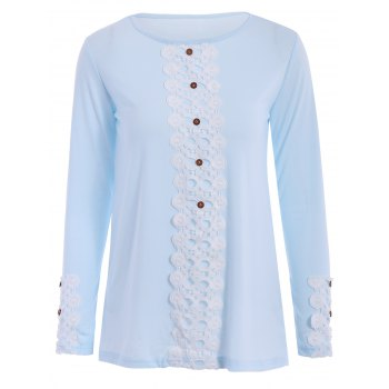 Stylish Long Sleeve Scoop Collar Loose-Fitting Laciness Women's T-Shirt
