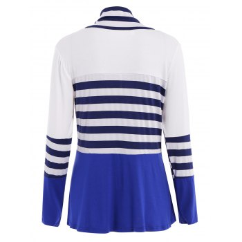 Casual Long Sleeve Collarless Striped Women's Thin Cardigan - BLUE/WHITE BLUE/WHITE