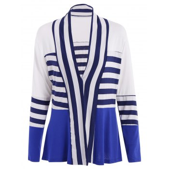 Casual Long Sleeve Collarless Striped Women's Thin Cardigan - BLUE AND WHITE BLUE/WHITE