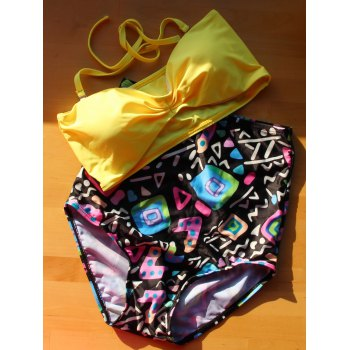 Active Yellow Bra and High Waist Print Briefs Tankini For Women