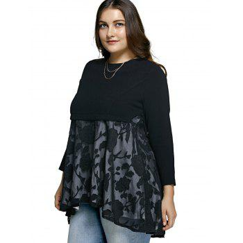 Plus Size Lace Spliced Asymmetric Dress - BLACK 5XL