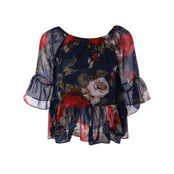Sweet Women's Off-The-Shoulder Floral Print Chiffon Blouse