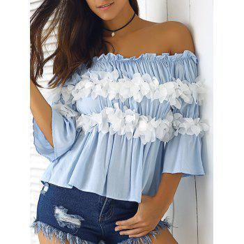 Graceful Women's  Off-The-Shoulder Flowers Bell Sleeves Blouse