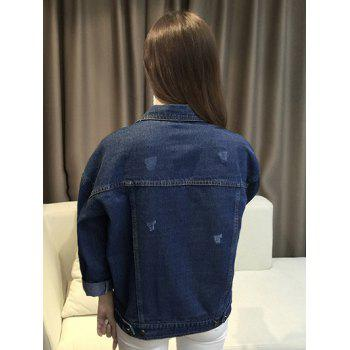 Trendy Single-Breasted Pocket Design Denim Jacket - BLUE L