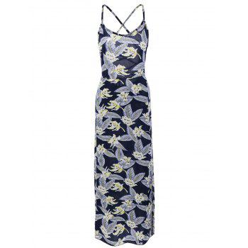 Alluring Women's Printed Open Back Slit Dress