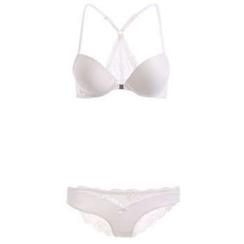 Front Closure Push Up Bra Set with Lace