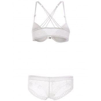 Front Closure Strappy Bra Set with Lace - WHITE 80A