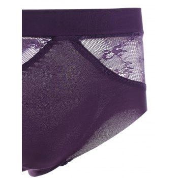 Brief Women's Spaghetti Strap Lace Splicing Bra Set - DEEP PURPLE 75A
