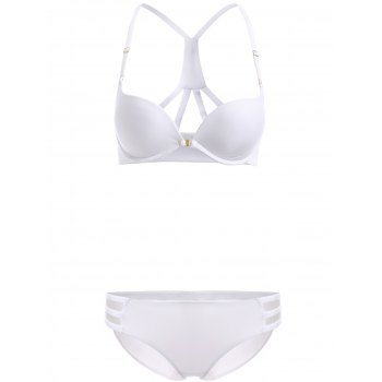 Brief Women's Front Closure Solid Color Push Up Bra Set