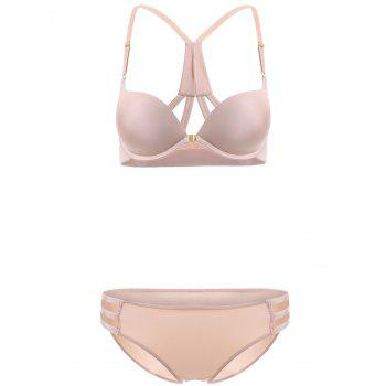 Front Closure Solid Color Push Up Bra Set