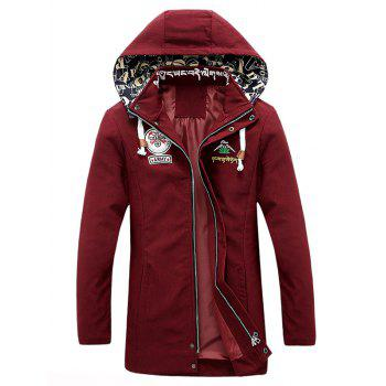 Patched Printed Snap Button Zipper Long Sleeve Men's Hooded Coat