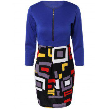 Chic Zipper Design Geometric Print Skinny Women's Dress