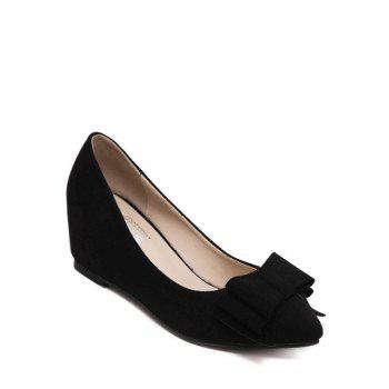 Buy Stylish Bow Pointed Toe Design Women's Wedge Shoes BLACK