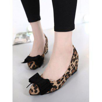 Stylish Bow and Pointed Toe Design Women's Wedge Shoes - 38 38