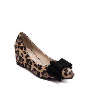Stylish Bow and Pointed Toe Design Women's Wedge Shoes - LEOPARD 38