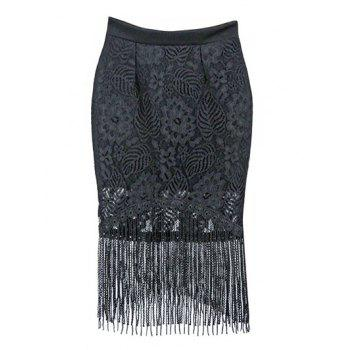 Trendy High Waist Fringed Bodycon Women's Skirt
