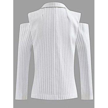 Lapel One-Button Striped Cut Out Cold Shoulder Blazer - WHITE L