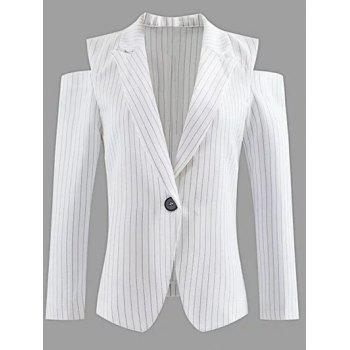 Lapel One-Button Striped Cut Out Cold Shoulder Blazer - WHITE WHITE