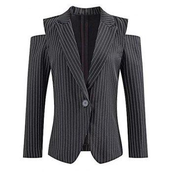 Lapel One-Button Striped Cut Out Cold Shoulder Blazer