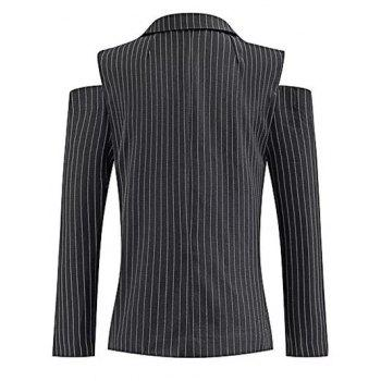 Lapel One-Button Striped Cut Out Cold Shoulder Blazer - BLACK L