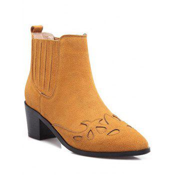 Trendy Engraving and Pointed Toe Design Women's Ankle Boots